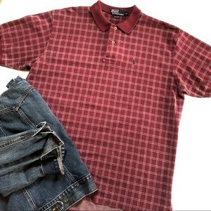 RALPH LAUREN POLO Classic Fit Red Grey Check Print